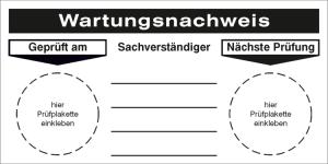 Grundplakette, Wartungsnachweis (Ausführung: Grundplakette, Wartungsnachweis (Art.Nr.: 21.0938))