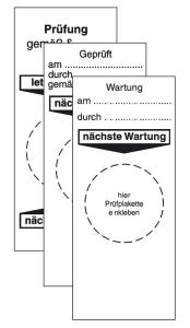 Grundplaketten für Prüfplaketten, verschiedene Aufschriften, Bogen (Aufschrift: Prüfung gemäß...letzte Prüfung...nächste Prüfung (Art.Nr.: 30.3655))