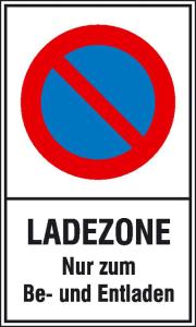 Haltverbotsschild, Eingeschränktes Halteverbot, Ladezone nur zum Be- und Entladen (Maße (BxH)/Material: 250x400 mm / Kunststoff (Polystrol) (Art.Nr.: 41.5165))