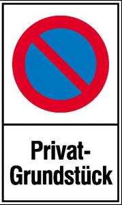 Haltverbotsschild, Eingeschränktes Halteverbot, Privatgrundstück (Maße (BxH)/Material: 250x400 mm / Kunststoff (Polystrol) (Art.Nr.: 41.5160))