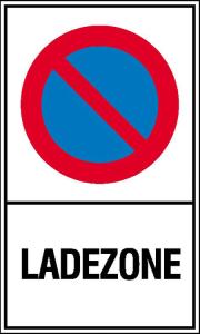 Haltverbotsschild, Eingeschränktes Haltverbot, Ladezone (Maße (BxH)/Material: 150x250 mm / Kunststoff (Polystrol) (Art.Nr.: 41.5153))