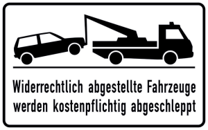 Haltverbotsschild, Widerrechtlich abgestellte Fahrzeuge werden kostenpflichtig abgeschleppt (Ausführung: Haltverbotsschild, Widerrechtlich abgestellte Fahrzeuge werden kostenpflichtig abgeschleppt (Art.Nr.: 11.5174))