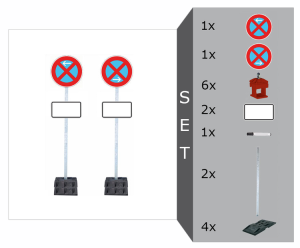 Haltverbotszonen-Set mobil -SIGN II-, inkl. Schilder, Schaftrohre u. 4 Fußplatten - nicht gem. TL (Ausführung: Haltverbotszonen-Set mobil -SIGN II-, inkl. Schilder, Schaftrohre u. 4 Fußplatten - nicht gem. TL (Art.Nr.: 14372))