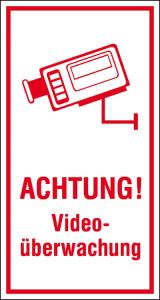 Hinweis-Kombischild, ACHTUNG! Videoüberwachung (Größe/Material: 80 x 150 mm/Folie (Art.Nr.: 21.5211))