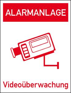 Hinweis-Kombischild, Alarmanlage Videoüberwachung, zur Innenverklebung (Material: Folie, 6er Bogen (Art.Nr.: 30.g5020))