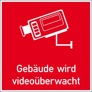 Hinweis-Kombischild, Gebäude wird videoüberwacht (Größe/Material: 30 x 30 mm/Folie<br>12er Bogen (Art.Nr.: 30.g5021))