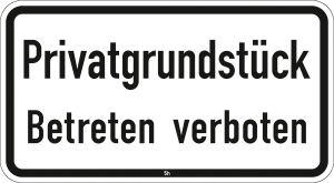 Hinweis zur Grundbesitzkennzeichnung Nr. 2824, Privatgrundstück, Betreten verboten (Maße/Folie/Form:  <b>231x420mm</b>/RA1/Flachform 2mm (Art.Nr.: 2824-111))