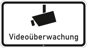 Hinweisschild 2841, Videoüberwachung (Maße/Folie/Form:  <b>231x420mm</b>/RA1/Flachform 2mm (Art.Nr.: 2841-111))