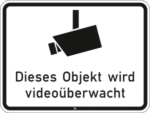 Hinweisschild 2843, Dieses Objekt wird videoüberwacht (Maße/Folie/Form:  <b>315x420mm</b>/RA1/Flachform 2mm (Art.Nr.: 2843-111))