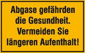 Hinweisschild, Abgase gefährden die Gesundheit ... (Maße (BxH) / Material: 300 x 200 mm / Alu, geprägt und einbrennlackiert (Art.Nr.: 11.5752))