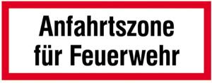 Hinweisschild, Anfahrtszone für Feuerwehr (Ausführung: Hinweisschild, Anfahrtszone für Feuerwehr (Art.Nr.: 11.2648))