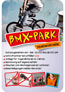 Hinweisschild -BMX-PARK-, mit individuellem Text und Piktogrammen, 400 x 600 mm (Ausführung: Hinweisschild -BMX-PARK-, mit individuellem Text und Piktogrammen, 400 x 600 mm (Art.Nr.: 40039))