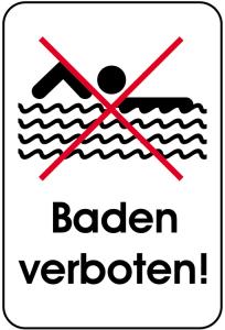 Hinweisschild, Baden verboten!, 400 x 600 mm (Ausführung: Hinweisschild, Baden verboten!, 400 x 600 mm (Art.Nr.: 14868))