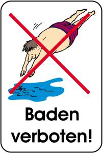 Hinweisschild, Baden verboten!, 400 x 600 mm, mehrfarbig (Ausführung: Hinweisschild, Baden verboten!, 400 x 600 mm, mehrfarbig (Art.Nr.: 14869))
