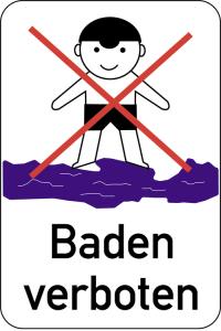 Hinweisschild, Baden verboten, 400 x 600 mm, mehrfarbig (Ausführung: Hinweisschild, Baden verboten, 400 x 600 mm, mehrfarbig (Art.Nr.: 14927))