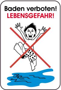 Hinweisschild, Baden verboten!, LEBENSGEFAHR!, 400 x 600 mm (Ausführung: Hinweisschild, Baden verboten!, LEBENSGEFAHR!, 400 x 600 mm (Art.Nr.: 14870))