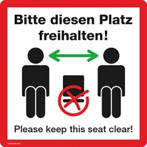 Hinweisschild -Bitte diesen Platz freihalten!-, selbstklebend, verschiedene Motive (Motiv: Verhaltenspiktogramm, weiß (Art.Nr.: 21.g8513))