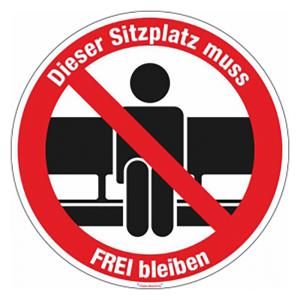 Hinweisschild -Dieser Sitzplatz muss FREI bleiben-, selbstklebend (Ausführung: Hinweisschild -Dieser Sitzplatz muss FREI bleiben-, selbstklebend (Art.Nr.: 21.g8515))