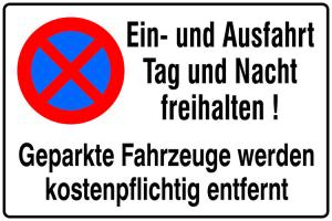 Hinweisschild, Ein- und Ausfahrt Tag und Nacht freihalten (Maße (BxH)/Material: 600x400 mm / geprägt (Art.Nr.: 11.5233))