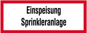 Hinweisschild, Einspeisung Sprinkleranlage (Ausführung: Hinweisschild, Einspeisung Sprinkleranlage (Art.Nr.: 11.2564))