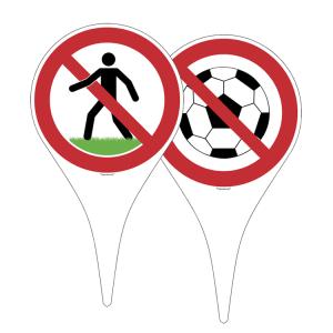 Hinweisschild-Erdspieß, Rasen betreten verboten oder Fussball spielen verboten (Ausführung: Rasen betreten verboten (Art.Nr.: 50.0498))