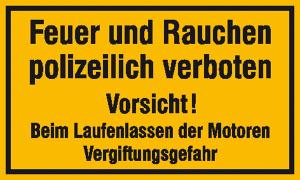 Hinweisschild, Feuer und Rauchen polizeilich verboten (Maße (BxH) / Material: 250 x 150 mm / Kunststoff (Polystrol) (Art.Nr.: 41.5208))