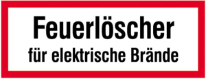 Hinweisschild, Feuerlöscher für elektrische Brände (Maße(BxH)/Material: 148x52mm/Folie,selbstklebend (Art.Nr.: 21.2571))