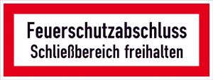 Hinweisschild, Feuerschutzabschluss ... (Material: Alu,geprägt (Art.Nr.: 11.2863))