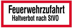 Hinweisschild, Feuerwehrzufahrt Haltverbot ... (Material: Aluminium, geprägt (Art.Nr.: 11.2651))