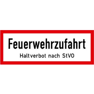 Hinweisschild, Feuerwehrzufahrt Haltverbot nach StVO, DIN 4066 (Maße/Folie/Form:  <b>74x210mm</b>/RA1/Flachform 2mm (Art.Nr.: hwsb020072121))