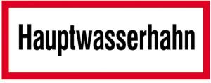 Hinweisschild, Hauptwasserhahn (Material: Folie,selbstklebend (Art.Nr.: 21.2871))