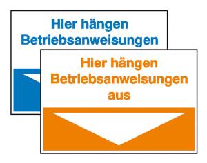 Hinweisschild, Hier hängen Betriebsanweisungen aus (Farbe: orange (Art.Nr.: 43.1030))