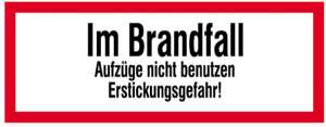 Hinweisschild, Im Brandfall ... (Ausführung: Hinweisschild, Im Brandfall ... (Art.Nr.: 21.2885))