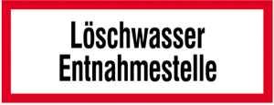 Hinweisschild, Löschwasser Entnahmestelle (Maße (BxH)/Material: 297x105mm/Alu,geprägt (Art.Nr.: 11.2580))