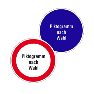 Hinweisschild -Protect-, selbstklebend, mit individuellem Verbots- oder Gebots-Piktogramm (Maße Ø: 50 mm (Art.Nr.: 39.0006))