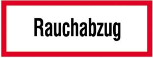 Hinweisschild, Rauchabzug (Maße(BxH)/Material: 148x52mm/Alu,  <b>langnachleuchtend</b> (Art.Nr.: 38.2604))