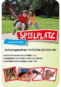 Hinweisschild -SPIELPLATZ-, mit individuellem Text und Piktogrammen, 400 x 600 mm (Ausführung: Hinweisschild -SPIELPLATZ-, mit individuellem Text und Piktogrammen, 400 x 600 mm (Art.Nr.: 40025))