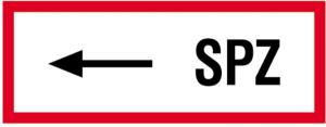 Hinweisschild, SPZ (linksweisend) (Material: Alu,geprägt (Art.Nr.: 11.2528))
