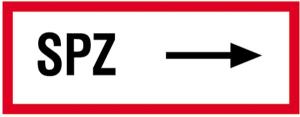 Hinweisschild, SPZ (rechtsweisend) (Material: Alu,geprägt (Art.Nr.: 11.2524))