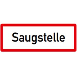 Hinweisschild, Saugstelle, DIN 4066 (Maße/Folie/Form:  <b>74x210mm</b>/RA1/Flachform 2mm (Art.Nr.: hwsb050072121))