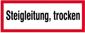 Hinweisschild, Steigleitung, trocken (Maße(BxH)/Material: 210x74mm/Folie,selbstklebend (Art.Nr.: 21.2879))