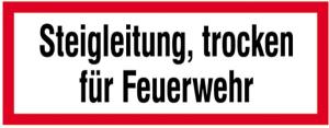 Hinweisschild, Steigleitung, trocken für Feuerwehr (Maße(BxH)/Material: 210x74mm/Folie,selbstklebend (Art.Nr.: 21.2880))