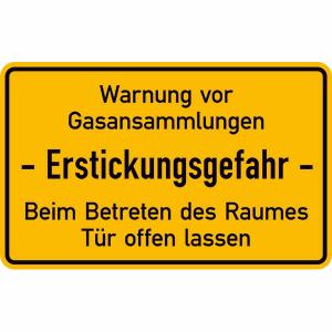 Hinweisschild, Warnung vor Gasansammlungen - Erstickungsgefahr - Beim Betreten des Raumes Tür ... (Ausführung: Hinweisschild, Warnung vor Gasansammlungen - Erstickungsgefahr - Beim Betreten des Raumes Tür ... (Art.Nr.: 11.5354))