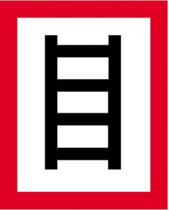Hinweisschild auf eine geeignete Stelle zum Anleitern, nach DIN 4066 (E2) (Maße(BxH)/Material: 200 x 250 mm/Alu,geprägt und einbrennlackiert (Art.Nr.: 11.2692))