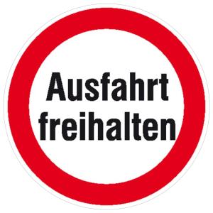 Hinweisschild für Ausfahrten, Ausfahrt freihalten (Ausführung: Hinweisschild für Ausfahrten, Ausfahrt freihalten (Art.Nr.: 11.1160))