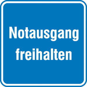 Hinweisschild für Betriebssicherheit Notausgang freihalten (Ausführung: Hinweisschild für Betriebssicherheit Notausgang freihalten (Art.Nr.: 11.0714))