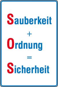 Hinweisschild für Betriebssicherheit Sauberkeit + Ordnung = Sicherheit (Ausführung: Hinweisschild für Betriebssicherheit Sauberkeit + Ordnung = Sicherheit (Art.Nr.: 11.5826))