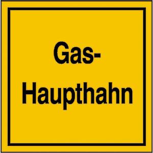 Hinweisschild für Gasanlagen, Gas-Haupthahn (Ausführung: Hinweisschild für Gasanlagen, Gas-Haupthahn (Art.Nr.: 11.2831))