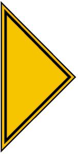 Hinweisschild für Gasanlagen, Pfeilspitze als Richtungsangabe für Gas-Haupthahn (Ausführung: Hinweisschild für Gasanlagen, Pfeilspitze als Richtungsangabe für Gas-Haupthahn (Art.Nr.: 11.2833))