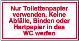 Hinweisschild für Gewerbe u. Privat, Nur Toilettenpapier verwenden (Ausführung: Hinweisschild für Gewerbe u. Privat, Nur Toilettenpapier verwenden (Art.Nr.: 21.5333))